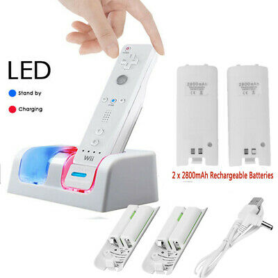 DUAL CHARGING CHARGER DOCKING STATION +2x RECHARGEABLE BATTERY FOR WII REMOTE UK