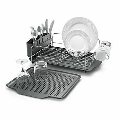 Kitchen Dish Drainer Sink Plate Rack Plastic Tray Cutlery Holder Stainless Grey