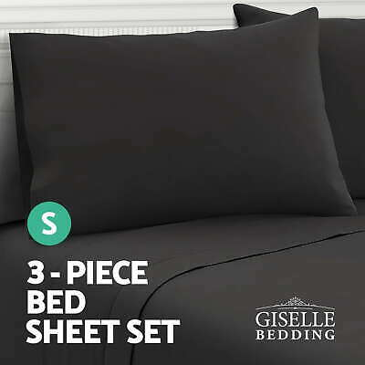 Giselle Bedding 1000TC 3 Piece Microfiber Bed Sheet Set Fitted Flat Pillowcase S