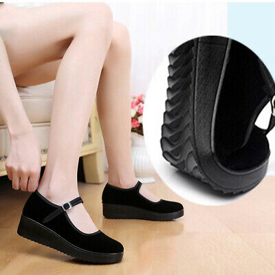 Women Working Shoes Casual Black Wedges Thick Bottom Comfortable Cloth Shoes U9
