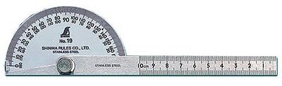 Shinwa Rules Classic Protractor No.19 Hard Chrome Finish Φ90 10cm 62480