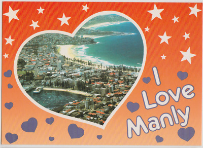 Australia NEW SOUTH WALES NSW Aerial view I LOVE MANLY Bartel postcard c1980s
