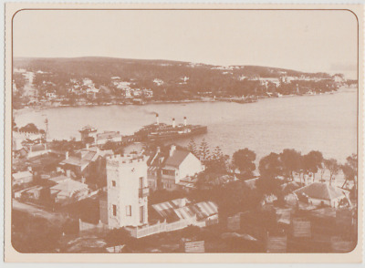 Australia NSW NEW SOUTH WALES Wharf & MANLY View early 1900s postcard 1978 repro