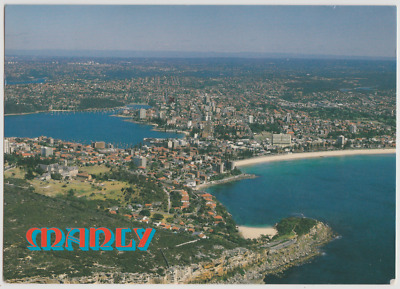 Australia NSW NEW SOUTH WALES Aerial View MANLY Sydney Messent postcard 1985 pmk