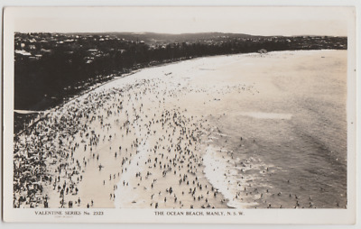 Australia NSW NEW SOUTH WALES Swimmers Ocean Beach MANLY Sydney postcard c1940s