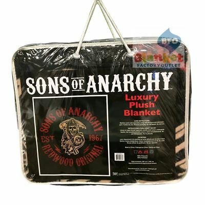 "Sons Of Anarchy Queen Size Blanket 79"" x 96"" SOA SAMCRO Reaper Redwood Original"