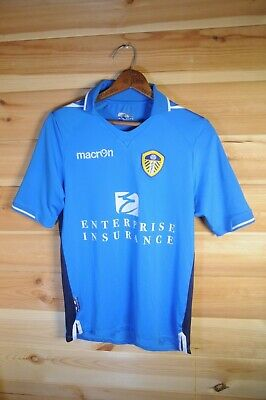 Leeds United FC Macron Blue Away Jersey Top Small 12/14 Fits XS