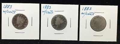 1883 Liberty Head V Nickel With Cents(Lot Of 3 Coins)