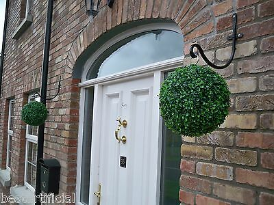 2 Best Artificial 28cm Green Boxwood Topiary Grass Hanging Balls - No Reserve