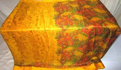Golden Rust Pure Silk 4 yard Vintage Sari Saree recycled Tablecloth www. #A2S7W