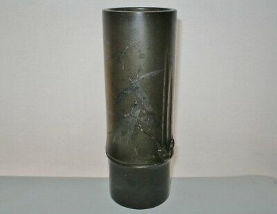 ARTISTIC Fine MUSEUM QUALITY Japanese BRONZE Bamboo VASE Inlaid SILVER has SPOTS