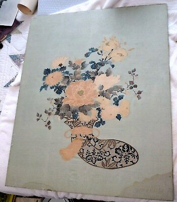 Antique Mounted on Board Asian/Oriental Silk Textured Print with Flowers