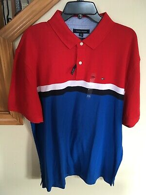 2635ab030 Mens Tommy Hilfiger Performance Pique Polo Striped Shirt Blue Red White Navy  XXL
