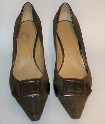 b71b6bad226 CIRCA Joan   David Olive Green Pumps 10M Buckle Heels Shoes Suede Leather