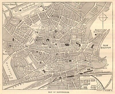 Map of Nottingham centre, antique engraving, 1880s