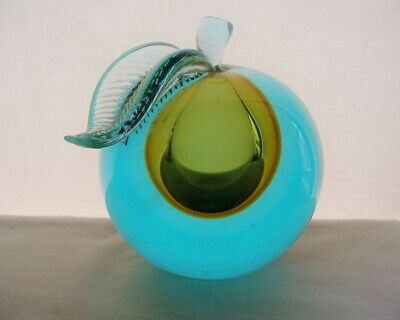 PHENOMENAL Big SIGNED 4+lbs MURANO Vaseline GLASS APPLE Paperweight BOOKEND Rare