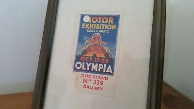 RARE 1926 Vintage Motor Classic Car Olympia Ticket Art Deco Photo Picture Frame
