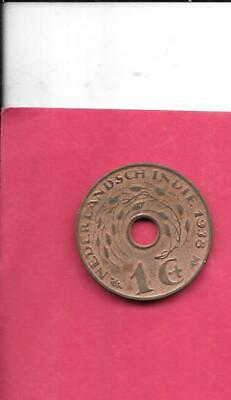 Netherlands Indies Km317 1938 Vf-Very-Nice Old Antique Wwii Bronze Cent Coin