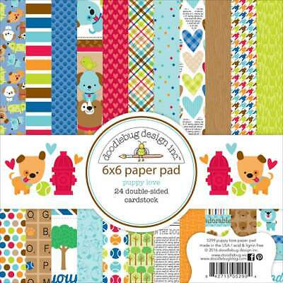 """Doodlebug Double-Sided Paper Pad 6""""X6"""" 24/Pkg Puppy Love 842715052994"""
