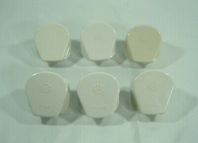 Vintage 60`s MK White / Cream 13A 3 Pin UK Mains plugs - Six Of
