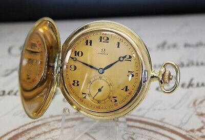 Rare antike Omega 35,5 S-T1 Sprungdeckel Taschenuhr vergoldet pocket watch