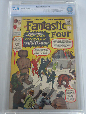 Fantastic Four #15 1963 CBCS 7.5 White Pages 1st Mad Thinker UK Price Variant