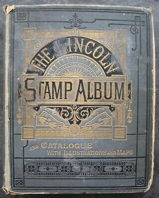 Unusual old Lincoln Stamp Album containing approx 600 stamps.