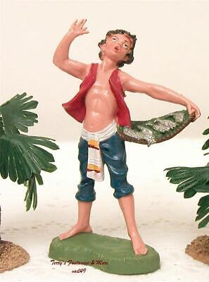 "FONTANINI DEPOSE ITALY 4"" COLOR BOY w/FISH BASKET NATIVITY VILLAGE FIGURE NEW"