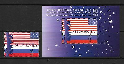 SLOVENIA Sc 463+463A NH 1V+1S/S of 2001 - PRESIDENTS OF USA & RUSSIA