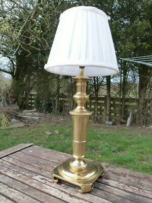 Lovely Vintage Heavy Solid Brass Table Lamp With Shade.