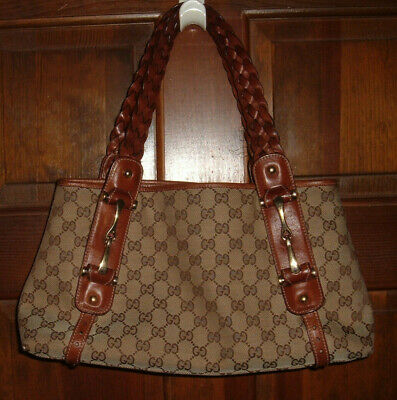 57bab908c9a GUCCI Pelham Horsebit GG Guccissima Leather Braided Brown Straps Handbag