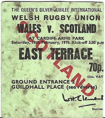 Rugby Union Ticket>WALES v SCOTLAND Feb 1978 Cardiff Arms Park