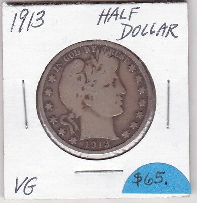 1913 Barber Half Dollar  Vg Condition