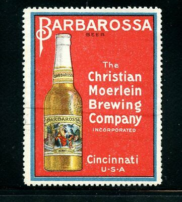 Poster Stamp USA 1915 Christian Moerlein Brewing CO Cincinnati Barbarossa Beer