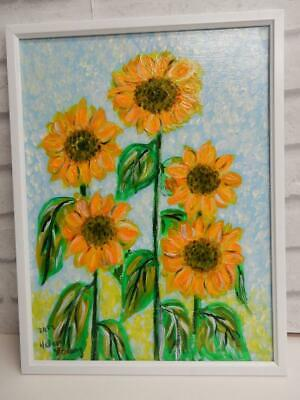 vintage old PAINTING oil SUN flowers signed