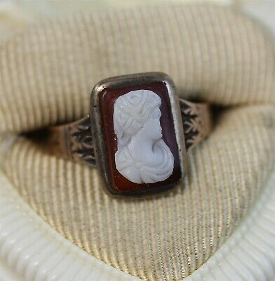 Victorian 1890's  10K Rosey Gold Cameo Shell Ring Lady Gorgeous Luxury (8) N5724