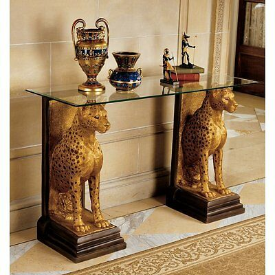 KY559534- Royal Egyptian Cheetahs Sculptural Glass-Topped Console