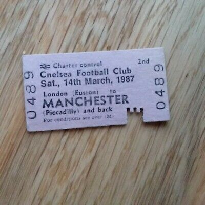 CHELSEA TRAIN TICKET 1986/87 MANCHESTER MAN CITY v CHELSEA