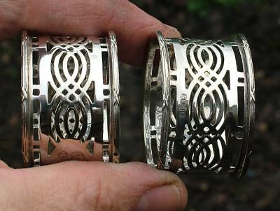Pair Of Attractive Antique Silver Plated Openwork Napkin Rings