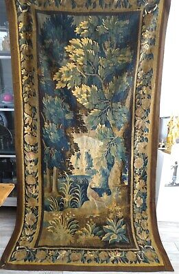 French antique Aubusson Tapestry  17 th-century  Verdure and volatiles birds