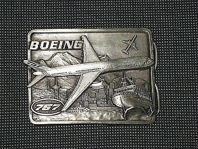 Vintage Boeing 757 Serial 3758 1982 Brass 3D Belt Buckle Washington Mary Carter