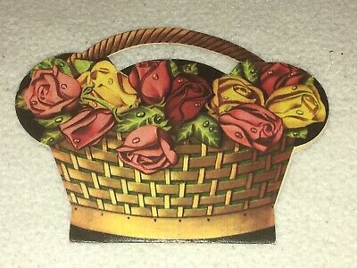Vintage Sewing / Needle Craft Sewing Kit In A Carded Whicker Basket Shape Case