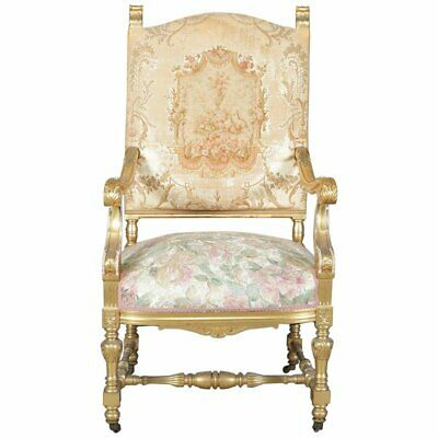 Antique French Louis XIV Giltwood and Tapestry Throne Chair, 20th Century