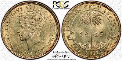 1947-KN British West Africa Shilling PCGS SP65 Ex. Rare Kings Norton Mint Proof