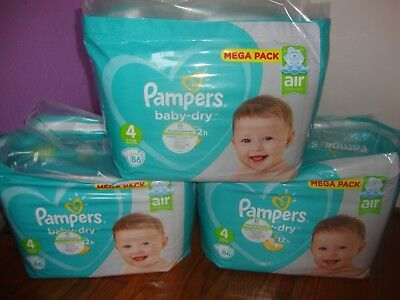 258 Couches Pampers baby-dry Taille 4 de 9 à 14kg Mega Pack - NEUF