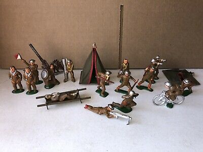 17 Pcs Barclay 70mm 90-95% Paint Dimestore Lead Toy Soldiers Pre War Very Clean