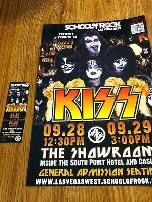 School Of Rock Las Vegas Tribute To KISS Promo Poster & Ticket  NEW Low Price
