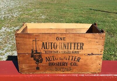 ANTIQUE AUTO KNITTER WOODEN BOX Knitting Machine Crate GREAT!