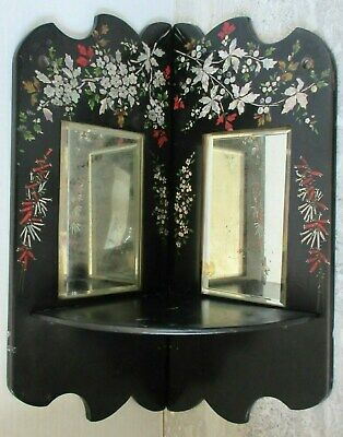 Antique Black Lacquer Ware Hand Painted Bevelled Mirror Folding Corner Shelf