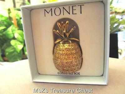 "MONET ""PINEAPPLE""  Collectible Enamel Keepsake Trinket Box    ** New In Box **"